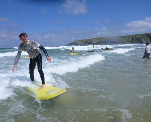 beginner surfer at Cornwall surf academy
