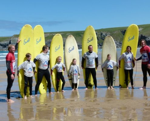 family surfing at cornwall surf academy