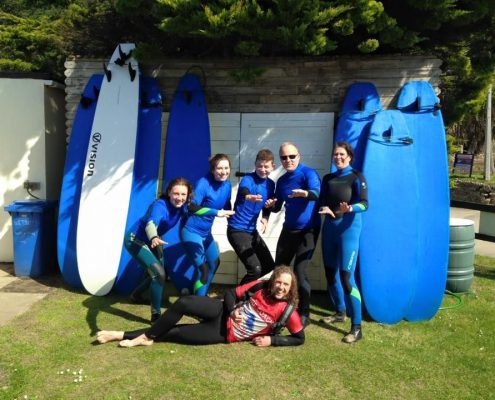 great day surfing at holywell bay